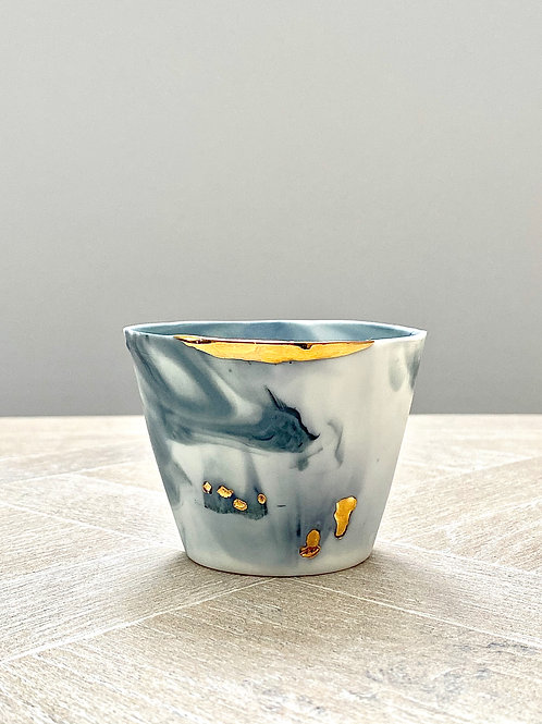 SOLD - Small porcelain and gold decorative pot by Ana Bridgewater - SOLD