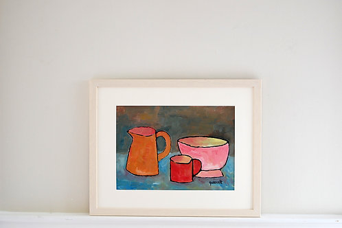 Oil on paper by Joan Queralt i de Quadras - Still Life