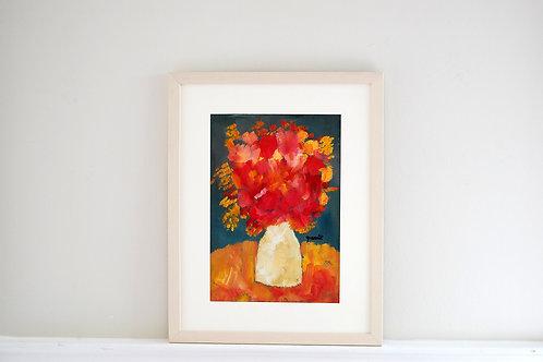 Oil on paper by Joan Queralt i de Quadras - Flowers