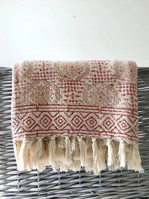 Red and cream block print cotton throw