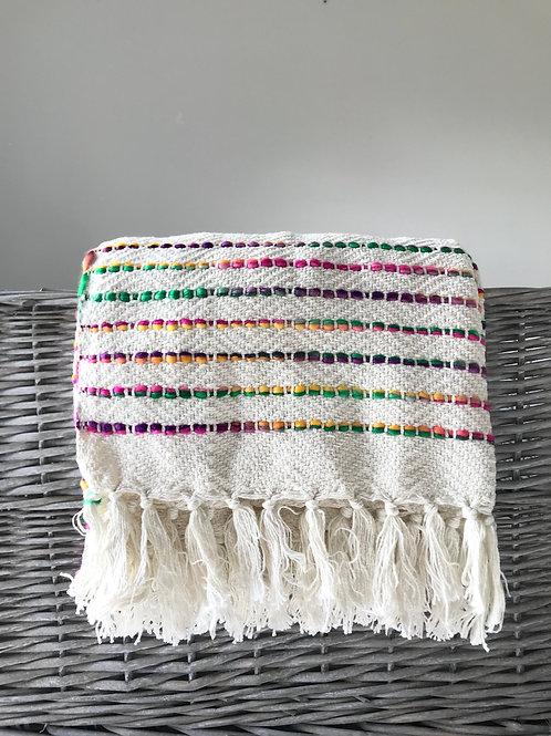 Multi-coloured threads cotton handloom throw