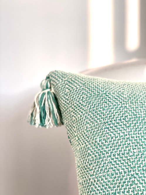 Hand woven recycled cotton cushion cover in green