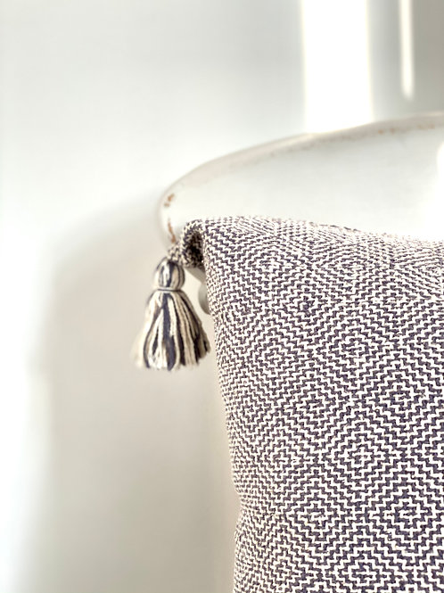Hand woven recycled cotton cushion cover in grey
