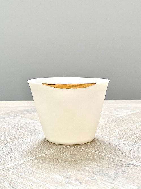 Small porcelain and gold decorative pot by Ana Bridgewater