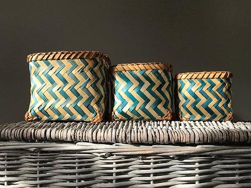 Set of three bamboo baskets