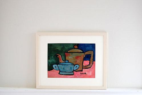 Oil on paper by Joan Queralt i de Quadras - Coffee and Sugar Pot