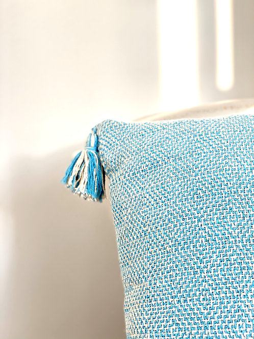 Hand woven recycled cotton cushion cover in blue