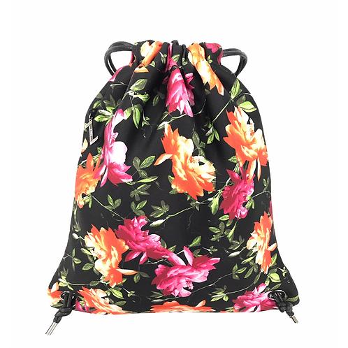 FLOWER MOOD Backpack flower nero-fuxia
