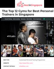 Best PT in Singapore 2020