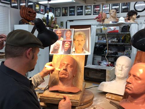 Actor Ben Foster's aging makeup sculpted by Jamie Kelman in 2017 for GALVESTON