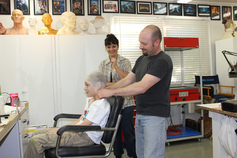 Sabrina Castro assists Jamie Kelman with a makeup test on 11 year old Kyle Kelman in pre-production for the movie WONDER (2015)