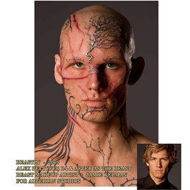 BEASTLY (2009) Alex Pettyfer's Beast Makeup application by Jamie Kelman for Alterian Studios