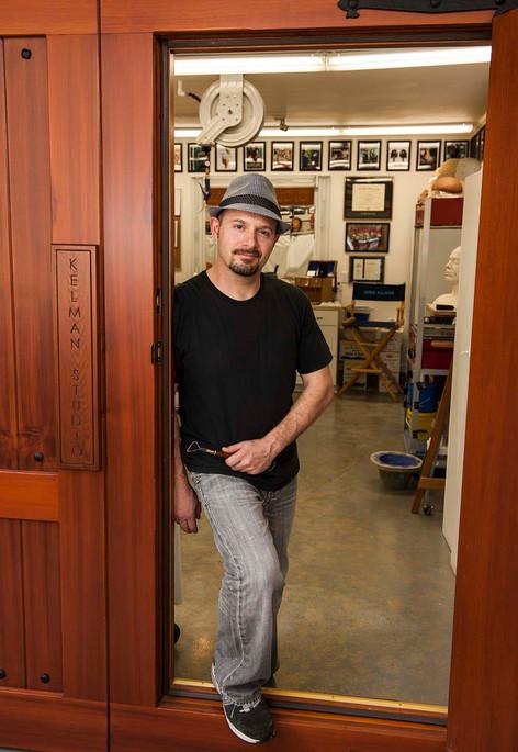 Jamie Kelman at home in his KELMAN STUDIO, Portrait photographed by John Calpin 2014