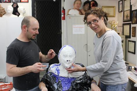 Natasha Kelman and Jamie Kelman take a headcast impression of 11 year old Kyle Kelman for makeup tests for the movie WONDER (2015)