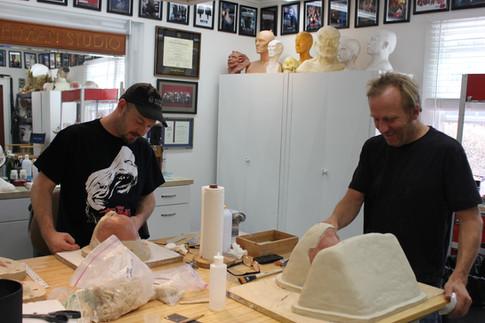 Michael McCracken Jr. & Jamie Kelman prep for molding test makeup appliances for actress Hayley Atwell for ANT-MAN (2015)