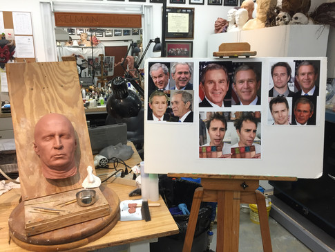 Actor Sam Rockwell gets sculpted into the character George W Bush for VICE (2018) at KELMAN STUDIO