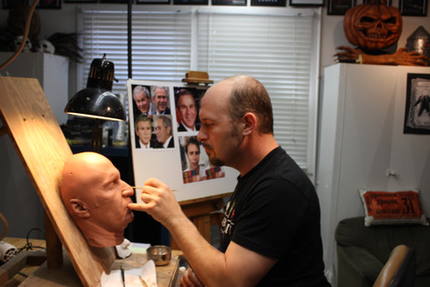 Jamie Kelman sculpts actor Sam Rockwell into the character George W Bush for VICE (2018)