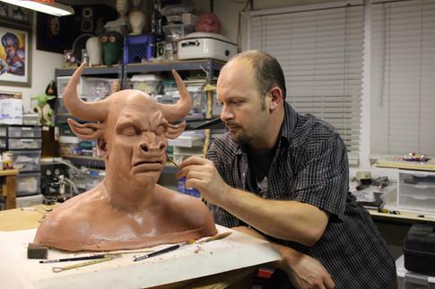 Jamie Kelman sculpts the Minotaur character for ARGO (2012)