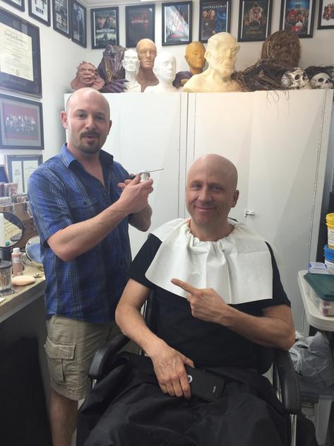 Michael McCracken Jr. gets a baldcap applied by Jamie Kelman at KELMAN STUDIO (2015)