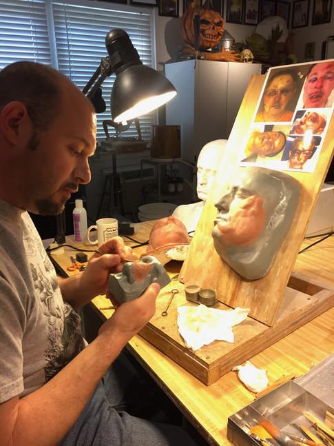 GALVESTON sculpting trauma makeup for actor Ben Foster (2017)