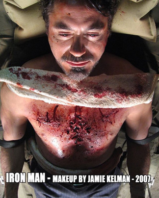 IRON MAN (2008) Prosthetic Makeup on Robert Downey Jr. by Jamie Kelman