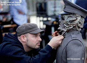 STAR TREK: INTO DARKNESS (2012) 'Keenser' alien makeup designed by B2FX and applied by Barney Burman and Jamie Kelman