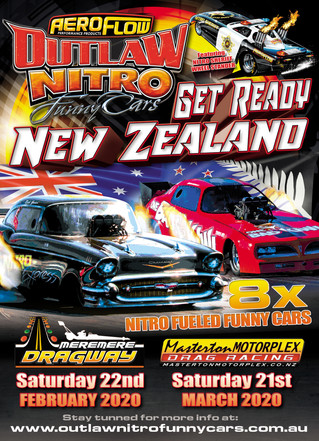 Aeroflow Outlaw Nitro Funny Cars to Double Up in New Zealand