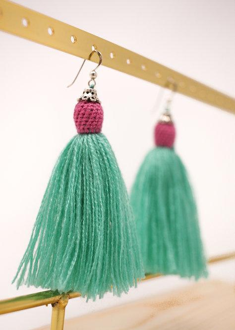 Aqua Tassel Earrings