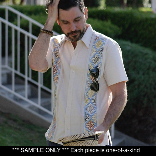 XSmall | Linen Guayabera | Short Sleeve Dress Shirt with Double Embroidery