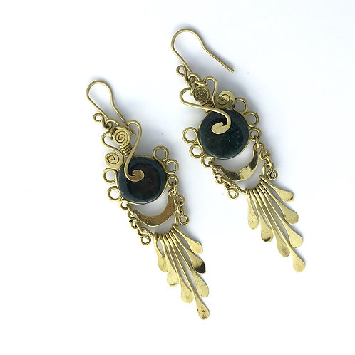 Mermaid Collection, Dark Green Jade and Brass Earrings