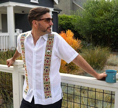 Medium | Men's Guayabera | Short Sleeve Dress Shirt with Double Embroide