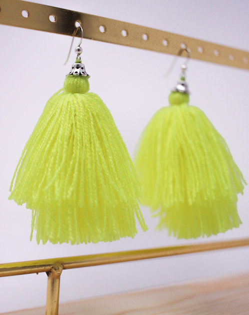 Fluoresces Yellow Tassel Earrings
