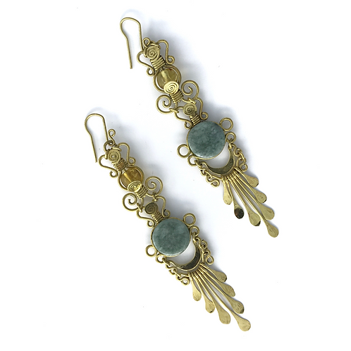 Mermaid Collection, Jade and Brass Earrings