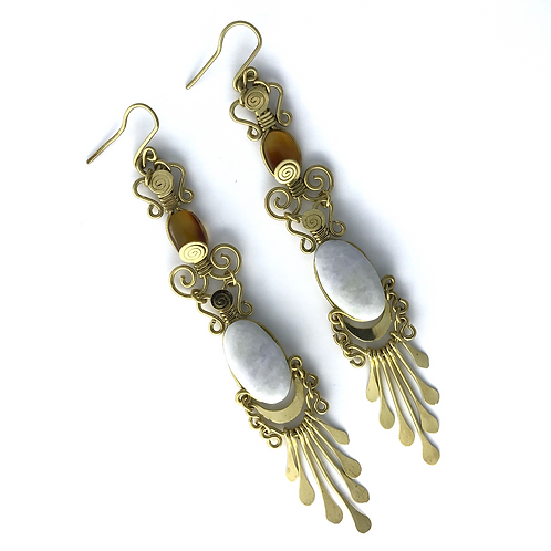 Mermaid Collection, White Jade Amber and Brass Earrings