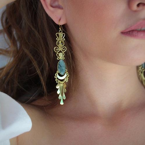 Mermaid Collection, Rhombus Jade Amber and Brass Earrings