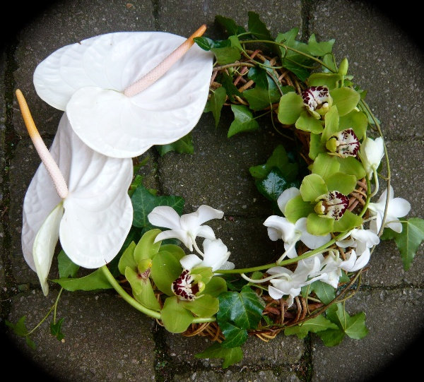 Orchid & Anthurium Contemporary Wreath