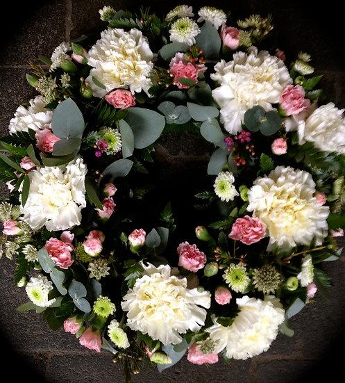 Pink & White Carnation Wreath