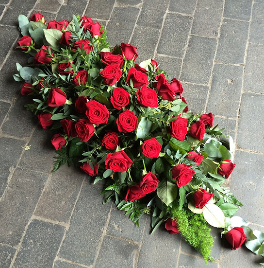 Classic Red Rose Casket Spray