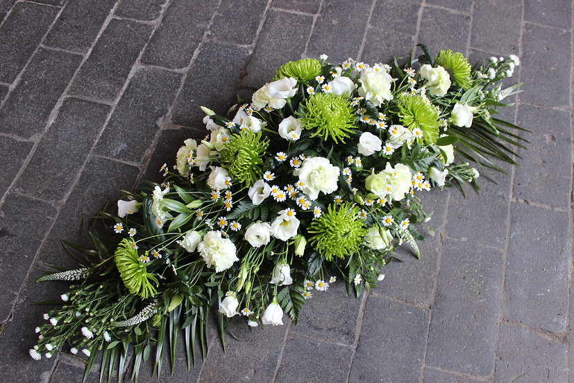 White & Green Casket Spray