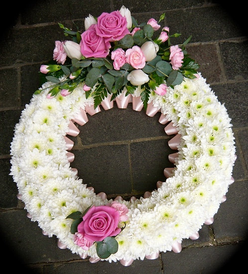 Classic Based Wreath with Colour Corsage
