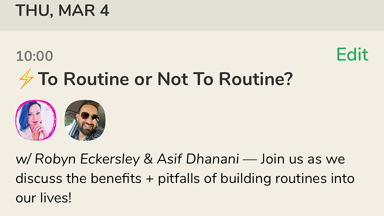 Talk: To Routine or Not To Routine? with Asif Dhanani