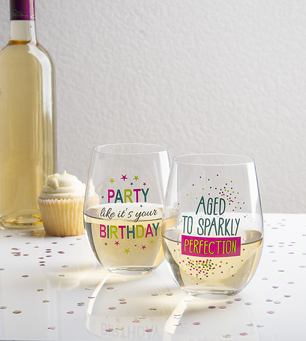 Birthday Stemless Wine Glasses