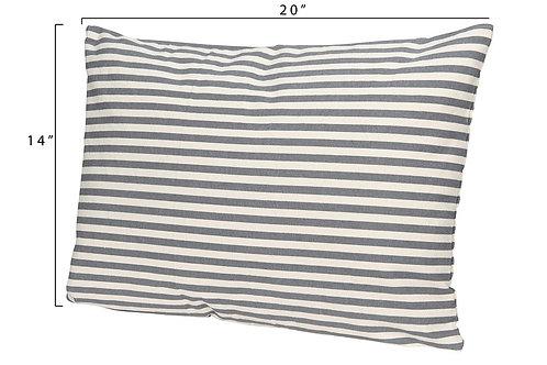 """20""""L x 14""""H Cotton Striped Pillow, Grey"""