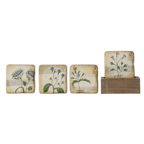 "3-3/4"" Sq Resin Coasters w/ Flower In Wood Box, Set of 5"