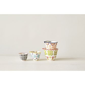 Stoneware Measuring Cups w/ Floral Pattern, Set of 4