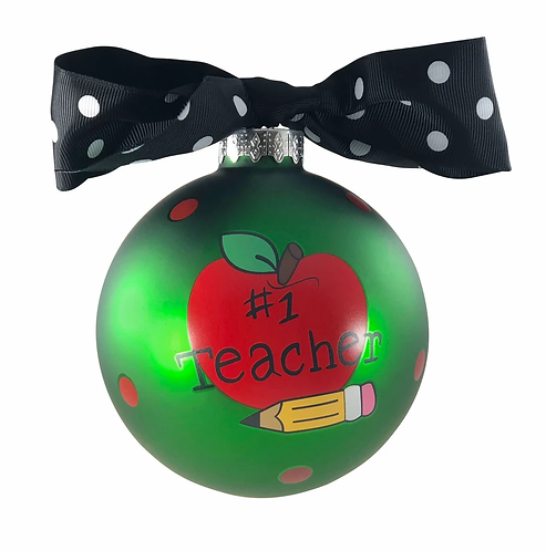 Teacher Glass Ornament with bow