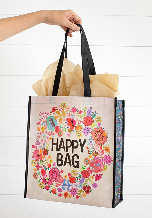 Natural Life Happy Bag Whimsy Floral Wreath Recycled Bag (large)