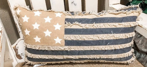 Rustic Distressed American Flag Pillow