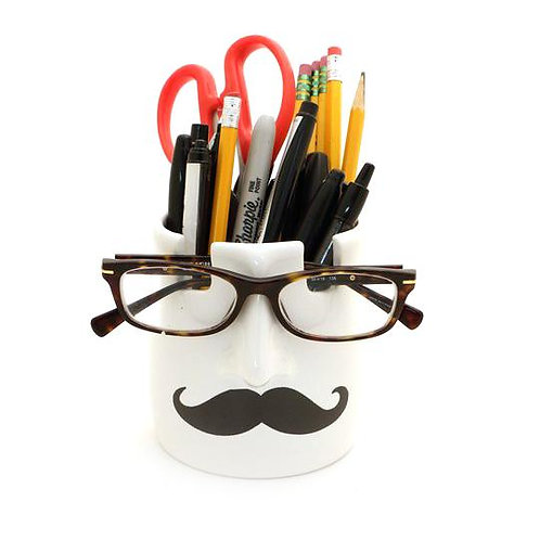 Mustache Pencil Cup and Glass Holder-Ceramic