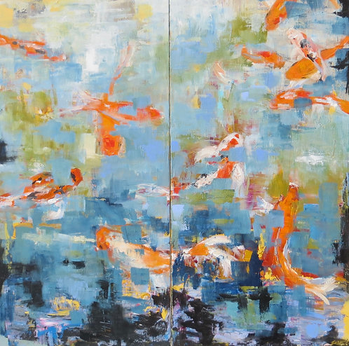 """Vibration Attraction (diptych) I 36"""" x 36"""""""
